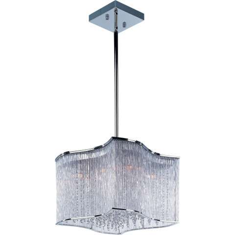 Maxim Lighting 39704CLPC 12-light Swizzle-Single Pendant fixture in Polished Chrome with Clear shade(s)