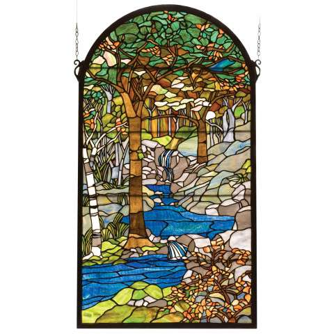 Meyda Tiffany 77530 Tiffany Waterbrooks Stained Glass Window in Copperfoil finish