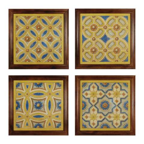 Framed Art - Florentine Tile I - IV - wood and paper and gel coat