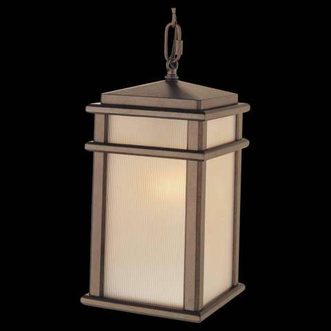 Murray Feiss OL3411CB Mission Lodge Hanging Lantern in Corinthian Bronze finish with Amber ribbed glass