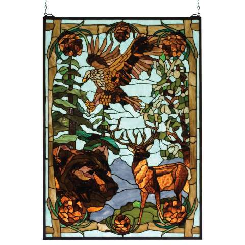 Meyda Tiffany 77732 Wilderness Stained Glass Window in Copperfoil finish