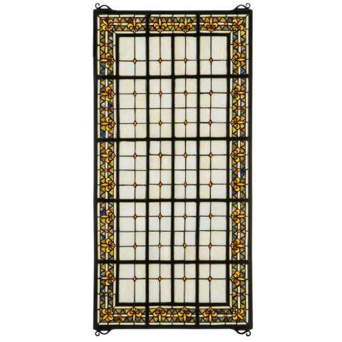 "24"" W X 48"" H Fleur-De-Lis Stained Glass Window"