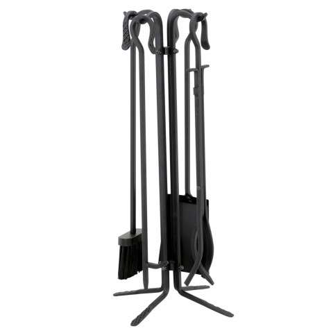 Uniflame T18070BK 5 Pc Black Wrought Iton Fireset W/ Crook Handles