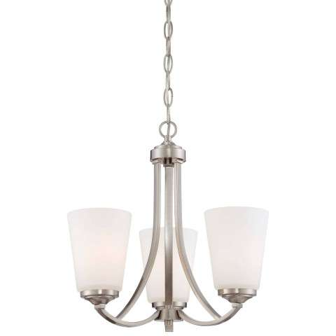 Minka Lavery 3 Light Mini Chandelier in Brushed Nickel Finish w/ Etched Opal Glass