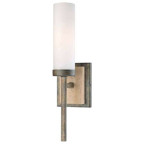 Minka Lavery Lighting 4460-273 Sconce in Aged Patina Iron with Travertine Stone finish