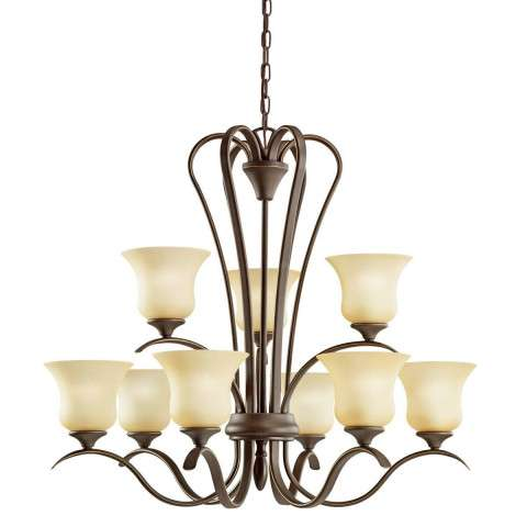 Kichler 10741OZ Chandelier 9Lt Fluorescent in Olde Bronze. ENERGY STAR qualified light fixture
