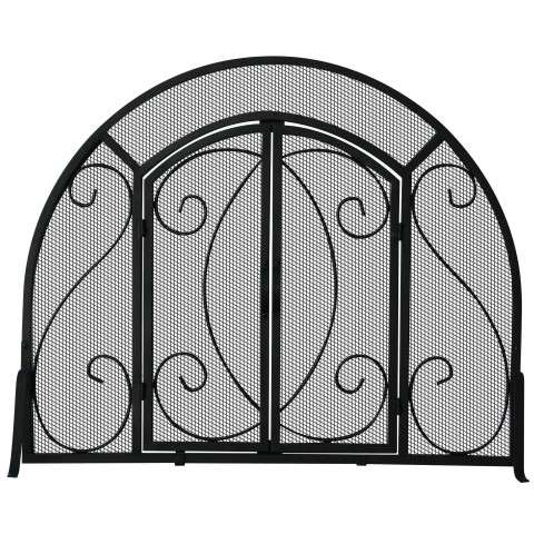 "Single Panel Black Wrought Iron Ornate Screen With Doors - 39"" Wide x 32"" Tall"