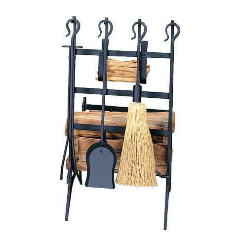 Uniflame W-1246 Black Log & Kindling Rack W/ Firetools