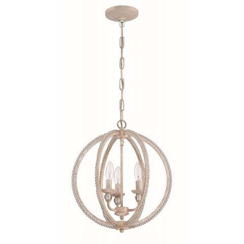 3 Light Mini Chandelier in Antique Linen