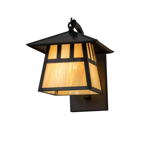 """Rustic Mission Lodge - 8"""" SQ STILLWATER CURVED ARM WALL SCONCE DOUBLE """" T"""" MISSION"""