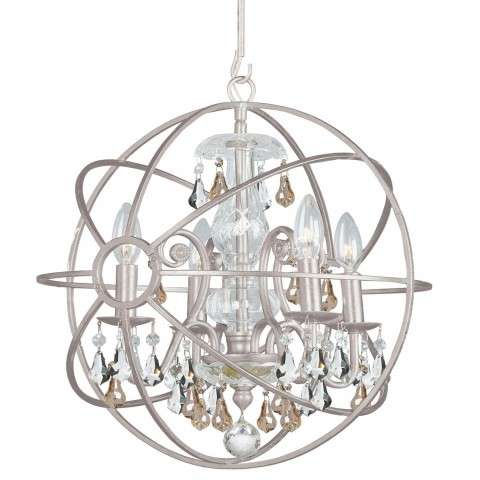 Crystorama 9025-OS-GS-MWP Chandelier with hand-painted wrought iron sphere and a crystal chandelier dressed with golden shade hand-cut crystals.
