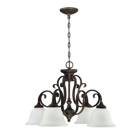 Barrett Place - 4 Light Down Chandelier - Mocha Bronze