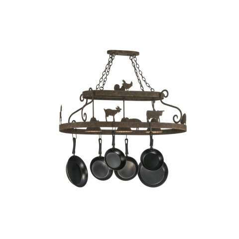 "46"" L Barn Animals W/Downlights Pot Rack. Custom Crafted In Yorkville - New York Please Allow 30 Days"