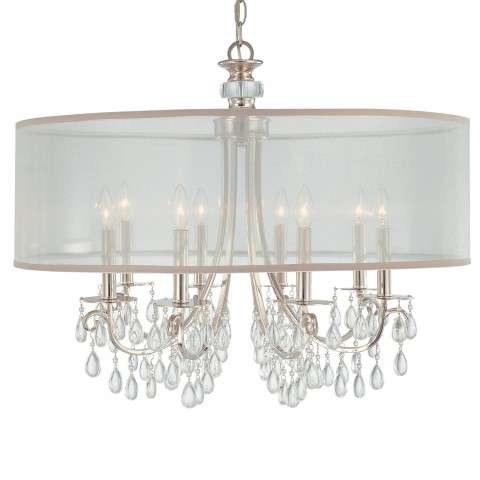 Crystorama 5628-CH Polished Chrome Chandelier Draped with Oyster Crystal Accented with a Silk Shade