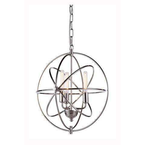 "1453 Vienna Collection Pendant lamp D:17"" H:19"" Lt:3 Polished Nickel Finish"