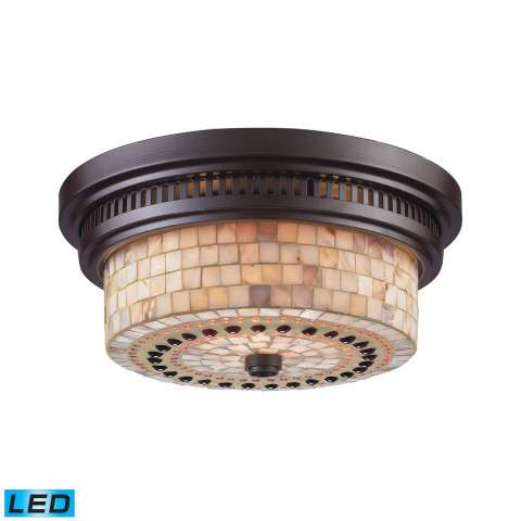 Chadwick 2-Light Flush Mount In OiLED Bronze And Cappa Shell - LED - 800 Lumens (1600 Lumens Total…