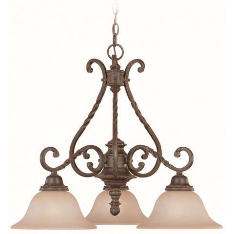 Craftmade Exteriors Sutherland - English Toffee 3 Light Down Chandelier in English Toffee
