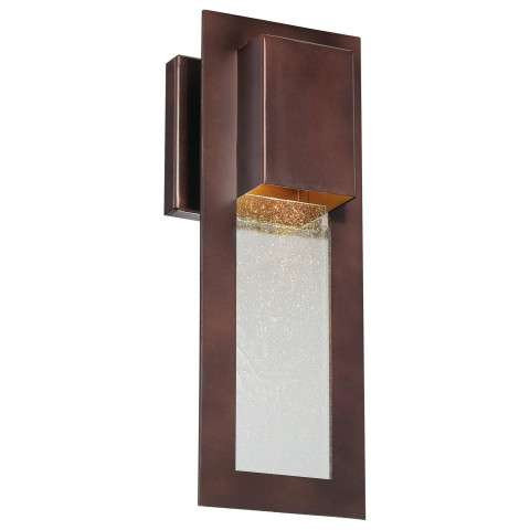 The Great Outdoors 1 Light Wall Mount In Alder Bronze Finish W/Clear Seeded Glass