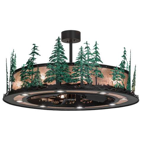 "Meyda 48"" Tall Pines Chandel-Air w/Up and Downlights in Iron w/Silver Mica and GreenTrees w/Oil Bronze Fan"