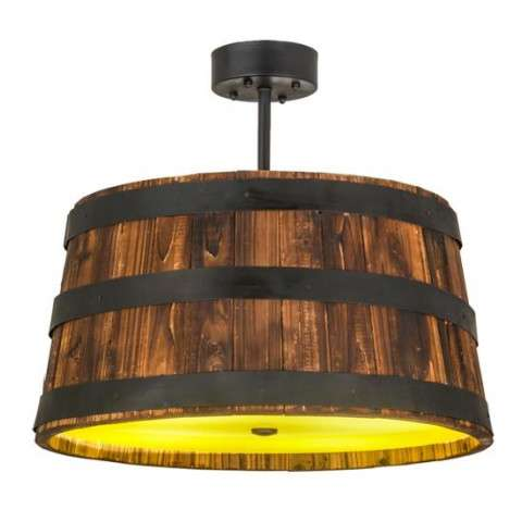"Whiskey Barrel - Rustic Mission Lodge - 25"" W Whiskey Barrel Pendant"