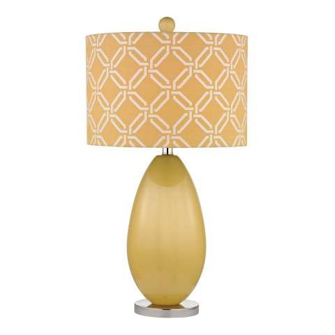 Sevenoakes Table Lamp In Sunshine Yellow With Yellow With White Pattern Print Shade
