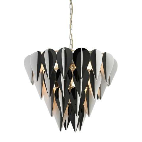 Pendant - Ashreigh-Mod Inspired Black And White 3 Tier Pendant - Acrylic and Metal