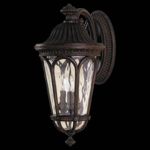 Murray Feiss OL5603WAL Regent Court Outdoor Lantern in Walnut finish with Blown clear water glass shade