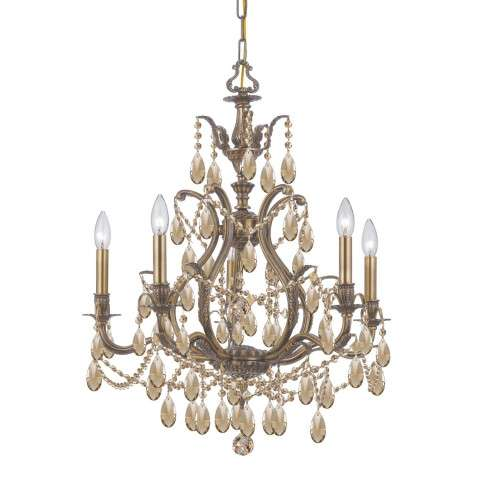Crystorama 5575-AB-GT-MWP Golden Teak Hand Cut Chandelier