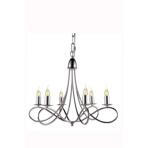 "1452 Lyndon Collection Pendant lamp D:24"" H:19"" Lt:6 Polished Nickel Finish"
