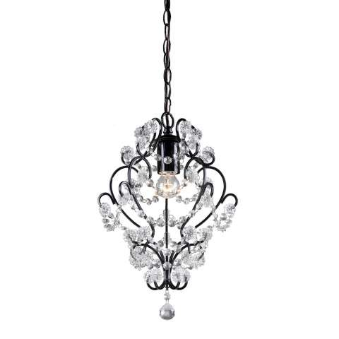 Sterling Furnishings 122-005 Black Framed And Clearcrystal Mini Pendant Lamp