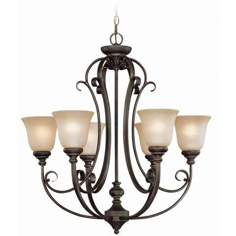 Craftmade Exteriors Barrett Place - Mocha Bronze 6 Light Chandelier in Mocha Bronze