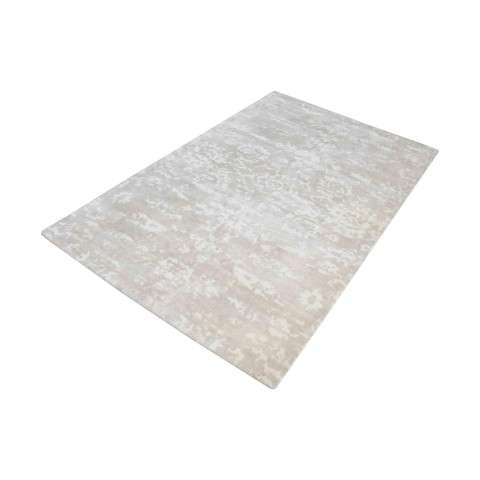 Senneh Handwoven Wool Printed Rug In Beige And White - 3ft x 5ft