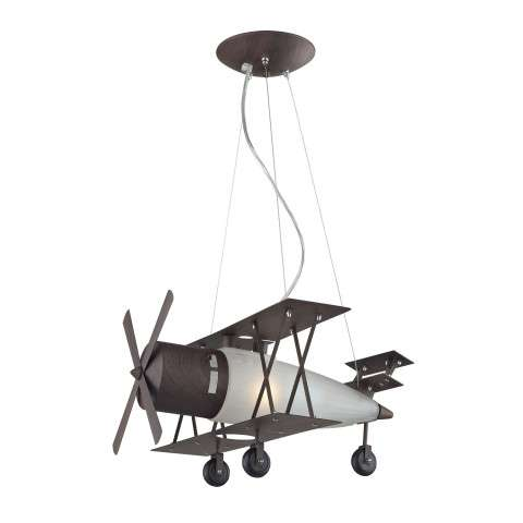Elk Lighting 5084/1 1 Light Biplane Fighter Pendant In Satin Nickel