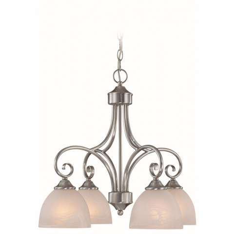 Craftmade Exteriors Raleigh - Satin Nickel 4 Light Chandelier in Satin Nickel