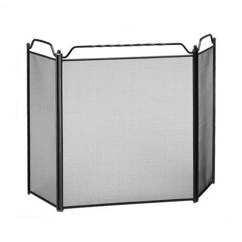 "Three-Fold Screen With Rail - Black - 51"" Wide x 31"" Tall"