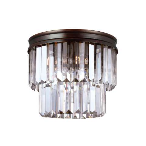 Carondelet Two Light Ceiling Flush Mount in Burnt Sienna with Prismatic Glass Crystal