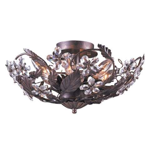 Crystorama 5316-DR Abbie Collection Hand Cut Crystal Semi Flush