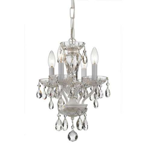 Traditional Crystal 4 Light White Mini Chandelier