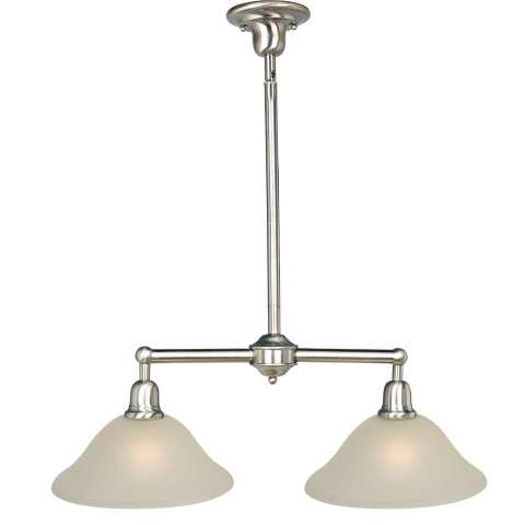 Maxim 11092SVSN Bel Air 2-Light Pendant in Satin Nickel with Soft Vanilla glass.
