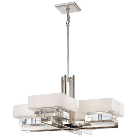 Metropolitan N6268-613 Eight Light Chandelier in Polished Nickel finish with Mitered Glass White Inside w/Eidolon Krystal™ Accents