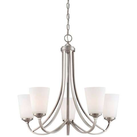 Minka Lavery 5 Light Chandelier in Brushed Nickel Finish w/ Etched Opal Glass