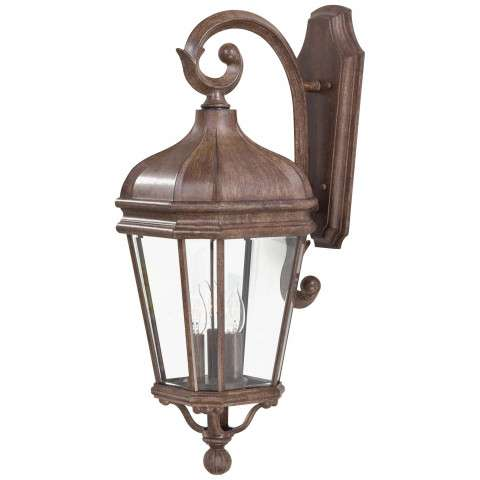 The Great Outdoors® 8692-61 3 Light Wall Mount in Vintage Rust™ finish with Double French Scavo Clear Beveled Glass