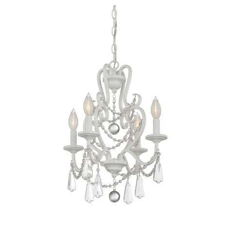 4 Light Mini Chandelier in Matte White with Clear Crystal