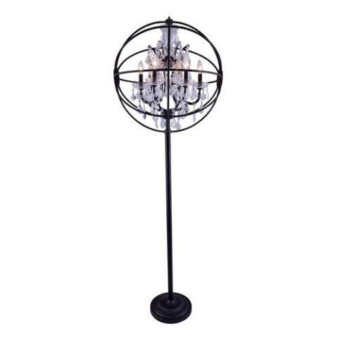 "1130 Geneva Collection Floor Lamp D:24"" H:71.5"" Lt:6 Dark Bronze Finish (Royal Cut  Crystals)"
