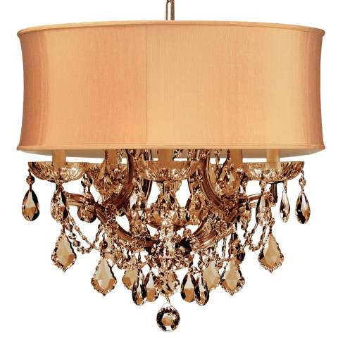 Crystorama 4415-AB-SHG-GTS Antique Brass Maria Theresa Chandelier Draped in Golden Teak Swarovski Elements Crystal and accented with a Harvest Gold Shade.