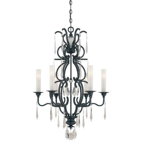 Metropolitan N6700-254 Six Light Chandelier in Castellina Aged Iron finish with White Iris Glass