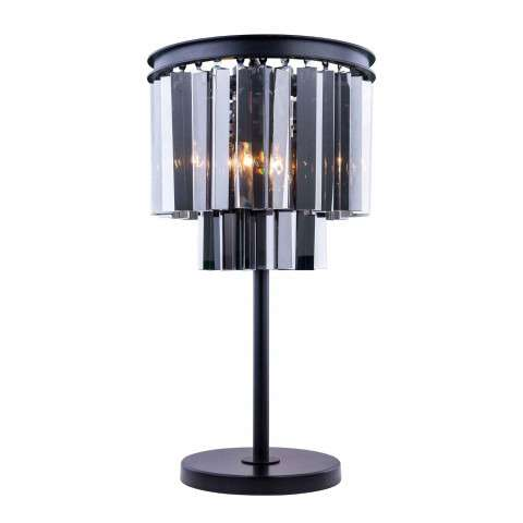 "1201 Sydney Collection Table Lamp D:14"" H:26"" Lt: Mocha Brown Finish (Royal Cut Silver Shade Crystals)"