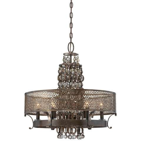 Metropolitan N6725-258 Six Light Chandelier in French Bronze finish with Jeweled Accents