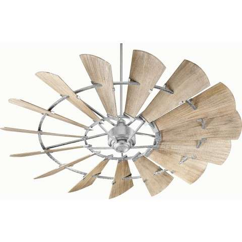 "72"" Quorum Windmill Ceiling Fan Damp Rated Model 197215-9 in Galvanized"