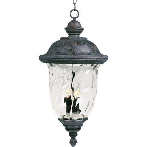 Maxim 40428WGOB Carriage House VX 3-Light Outdoor Hanging Lan in Oriental Bronze with Water Glass glass.